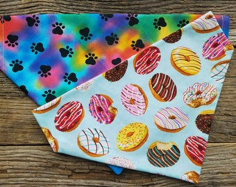 Donut Dog bandana, tie dye, donuts, slide over the collar reversible