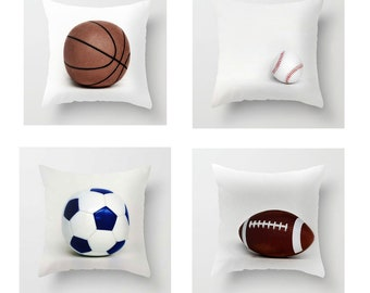 Set of 4 Pillows-Sports Pillow Cover Set-Baseball-Basketball-Football-Soccer Pillows-14x20 Rectangular Pillow Cover-Sports Decor-Toss Pillow
