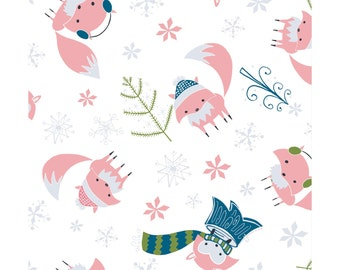 NEW from Camelot Fabrics, Winter Wonderland, Foxes on white by Heather Rosas, yard