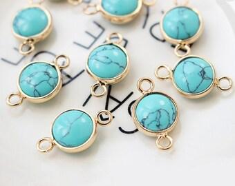 4pcs Natural stone connector, turquoise charm Pendant, 11*15MM, pearl bezel connecor