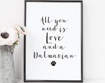 Dalmatian Art Print - Animal Art Print - Love And A Dalmatian