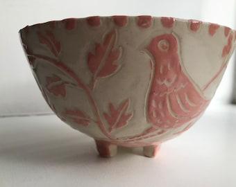 Sgraffito stoneware bowl