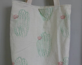 Cacti Everything Tote, Printed Fabric! Tote Bag, Hand Carved Designs, Books, Purse, Library, Market, Farmers Market, Shopping