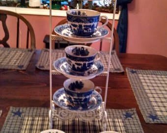 6 blue willow cups and saucers made in japan