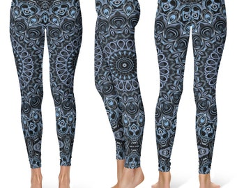 Dark Blue Leggings Yoga Pants, Mandala Printed Yoga Tights for Women, Festival Clothing, Club Wear