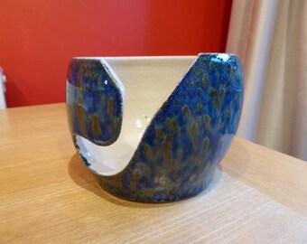 Midnight Rain (Blue & Cream) Stoneware Ceramic Yarn Bowl