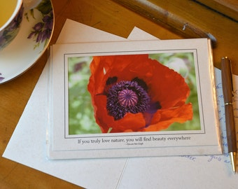 Pretty as a Poppy Photo Card with Van Gogh Quote
