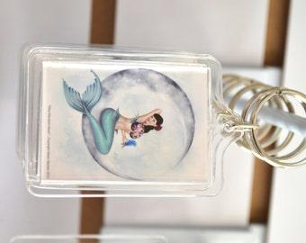 Pin-up Mermaid Art Acrylic Key Chain - Fantasy Charm Keyring - Miss Mandolin Moon
