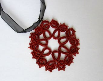 Rosette Pendant / Lace pendant / Lace necklace / Tatted lace / Tatted pendant / Lace jewellery