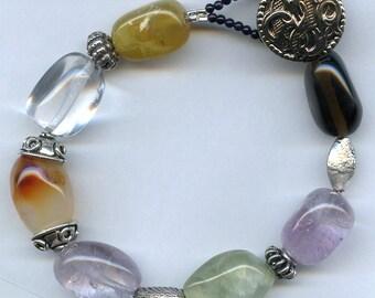 Gemstone Button Bracelet