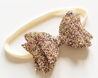 Double gold mix 'allsorts' glitter bow on nylon headband - baby toddler headbands, one size headband