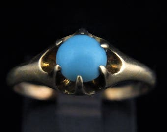 c.1800s Victorian Blue Gemstone 10k Yellow Gold Ring Estate Antique Promise LAYAWAY AVAILABLE