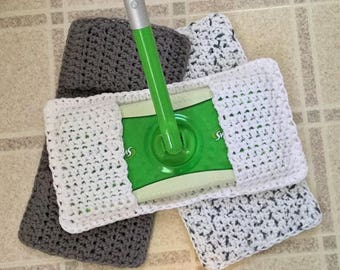 Swiffer Cover, Set of 3 Reusable Swiffer Covers, Crochet Swiffer Pad, Eco Friendly Mop Covers, Sweeper Cover, Swifter Cover, Gray, White