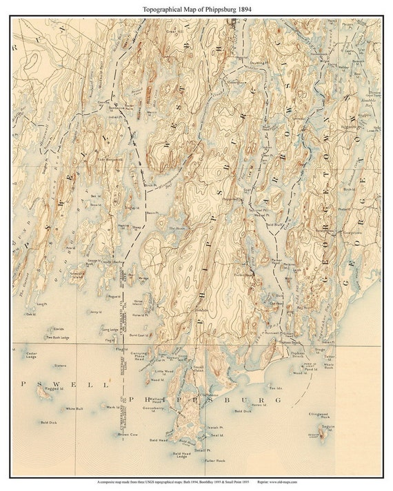 Phippsburg Maine Old USGS Old Topo Map 1894 Custom Reprint
