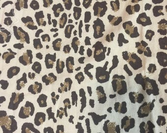 """Leopard print broad cloth 1yd + 33"""" 60"""" wide free shipping"""