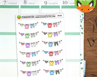 Laundry Lines - Washing Cleaning Washing Line Clothes - Planner Stickers (F0143)