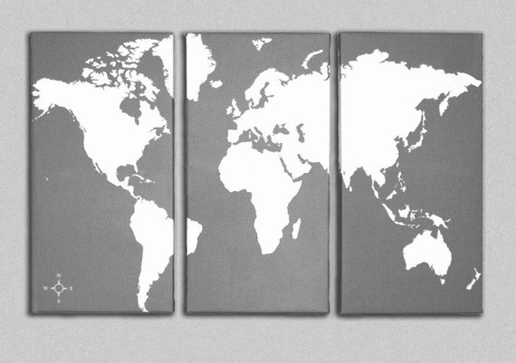 World map canvas giclee triptych grey and white gumiabroncs Gallery