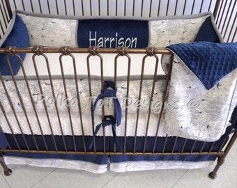 Navy and Natural Vintage Look Navigation Baby Boy Bedding : Harrison