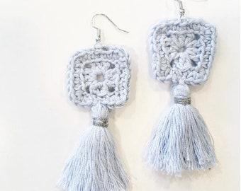 Blue Tassel Statement Earrings