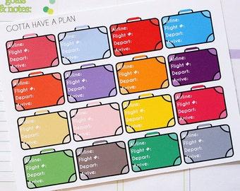 Planner Stickers Flight Information for Erin Condren, Happy Planner, Filofax, Scrapbooking