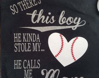 Baseball Mom Shirt, Baseball Mom, So There's This Boy, Mom Shirt, Baseball Grandma, Mimi Shirt, Nana Shirt, Baseball