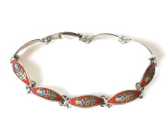 Red Tulip Enamel Sterling Silver Bracelet
