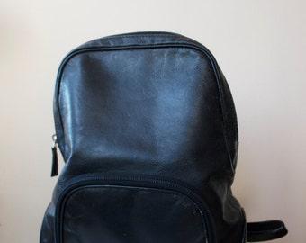 90's Laura Ashley Black Leather Rugsack