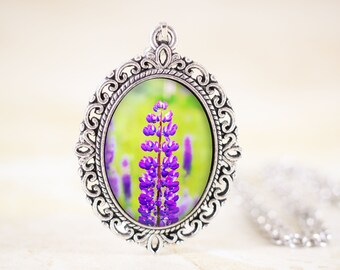 Lupin Flower Necklace - Purple Flower Jewelry, Spring Flower Pendant, Lupine Purple Wildflower Jewellery, Nature Photography