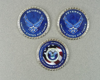 AIR FORCE Retired Veteran Challenge Coin Retirement Custom Personalized Memorial Coin USAF Name Rank Military Gift