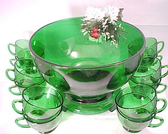 1950s Anchor Hocking 14 Piece Forest Green  Punch Bowl with Stand and 12 Cups, Mid Century Holiday Glassware, Vintage Collectible Punch Set