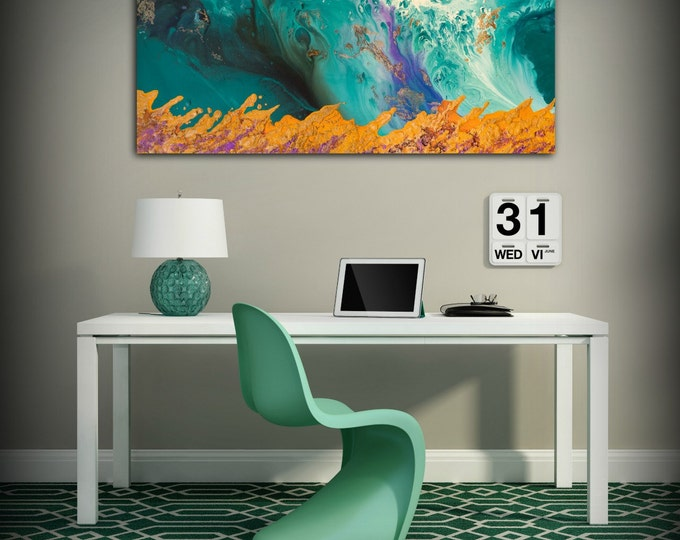 Canvas Print Wall Decor Large Abstract Wall Art Teal and Orange Modern Art Office Wall Decor - Small to XL Oversized -by L Dawning Scott