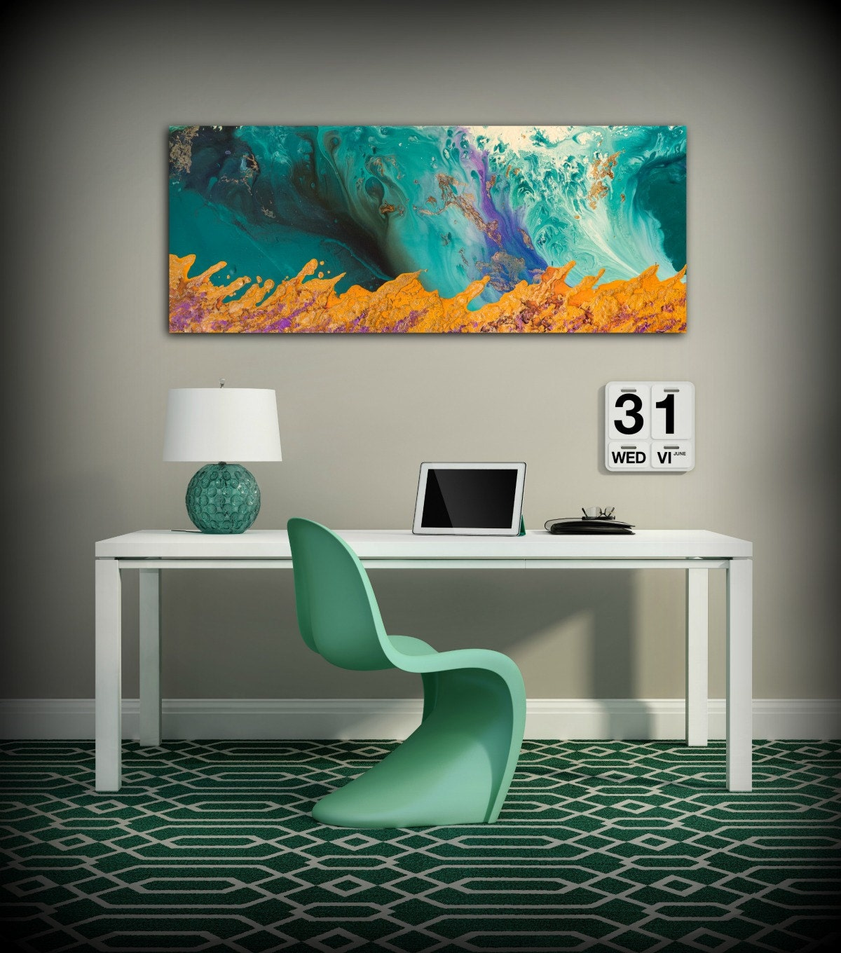 Wall Art Office. Canvas Print Wall Decor Large Abstract Art Teal And Orange  Modern Office