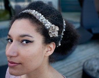 pearl hair-vine/pearl headdress/vintage hair-vine