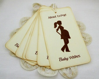 Gender Neutral About To Pop Tags, Baby Shower Wish Tags, Mom to Be Wish Tags, Gender Neutral Shower Party Tags