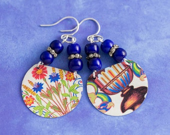 Mismatched Vintage Tin Earrings with Ceramic Cobalt Blue Beads, Flower Earrings, Colorful Jewelry