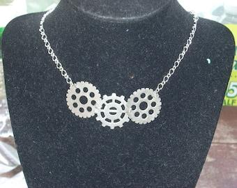 Three Gear Necklace