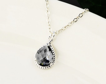 Charcoal Gray Necklace - Gray Bridesmaid Necklace - Charcoal Gray Glass Pendant Necklace - Grey Crystal Necklace