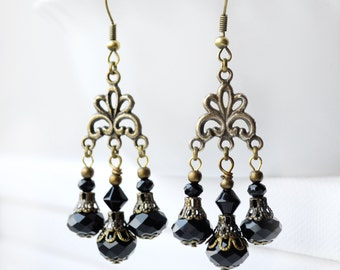 Black Earrings black Victorian earrings for women black chandelier earrings long bohemian earrings gypsy Earrings black vintage Earrings