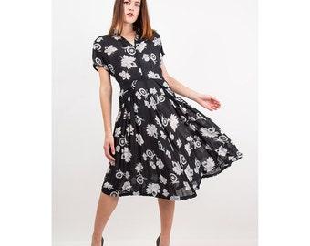 1940s dress / Vintage novelty print sheer rayon chiffon dress /  Spinning wheel M L