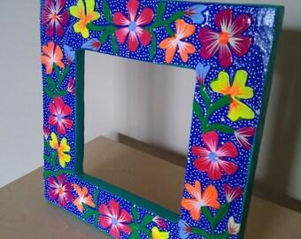 Oaxacan picture frame- Mexican folk art- Oaxaca Mexico wood carving alebrije style