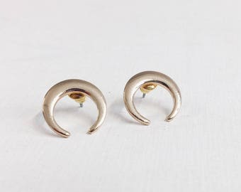 Half Moon Earrings in Gold Colour | Moon Ear Studs Horn Crescent Design nickel free
