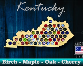 Kentucky Beer Cap Map KY - Beer Cap Holder Beer Cap Display Gift for Him Wedding Gift Fathers Day Birthday Unique Christmas Gift