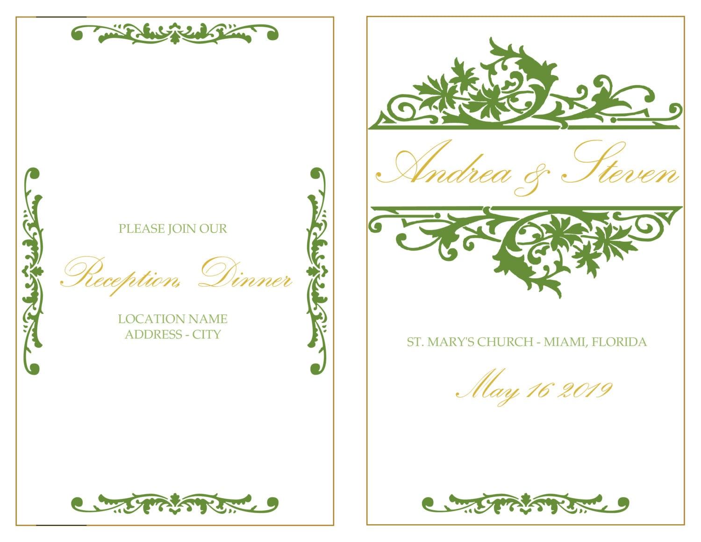 Grün Foldover Hochzeit Programmheft Vorlage elegante