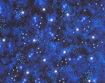 Space Stars Celestial Navy Quilt Fabric by the 1/2yd