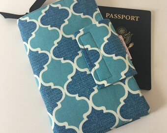Travel Organizer, Passport Wallet, Planner wallet, Smart phone holder, Blue Geometric, Gray dot wallet, Ready to ship