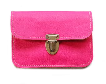 Wallet leather & felt, PINK