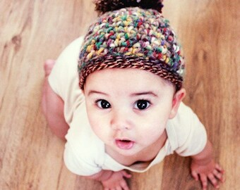 12 to 24m Fall Pixie Hat Pom Pom Elf Beanie Baby Hat Autumn Brown Red Yellow Green Fall Crochet Hat Toddler Photo Prop  Christmas Baby Gift