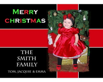 Personalized Photo Christmas Card Design - Customized with Your Picture - RED RIBBON Design - Digital / Printable