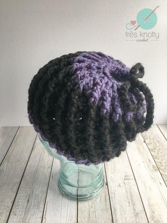 Messy Chunky Beach Waves Easy Tutorial: Black And Purple Messy Bun Beanie Chunky Messy Bun Hat