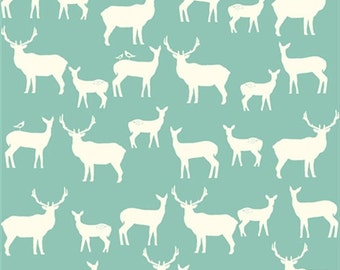 COTTON Elk Family Pool, Mod Basics 2, Birch Organic Fabrics, Light Blue Teal, Deer Fawn Woodland Animals, One Yard, More Available
